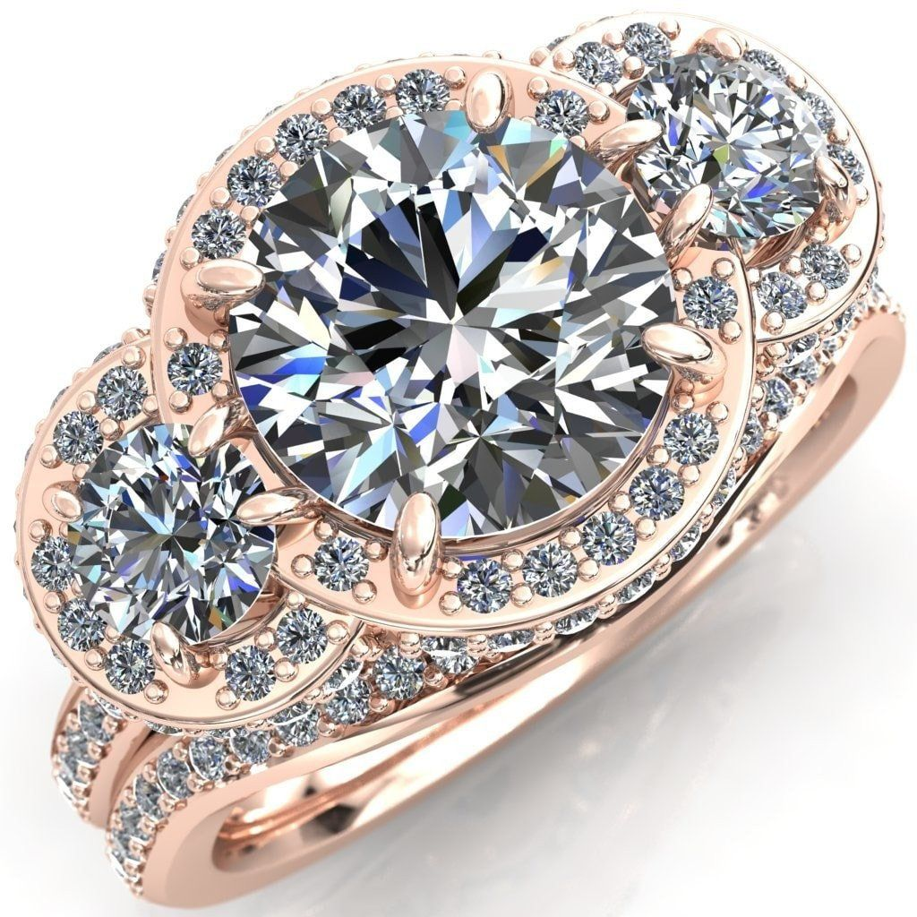 Melissa round moissanite stone triple halo diamond accent ring