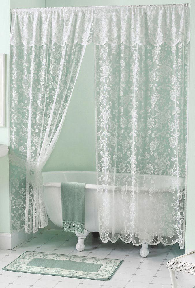 Shabby Chic White Vintage Rose Lace Shower Curtain U0026 Valance Set NEW In  Home U0026 Garden, Bath, Shower Curtains