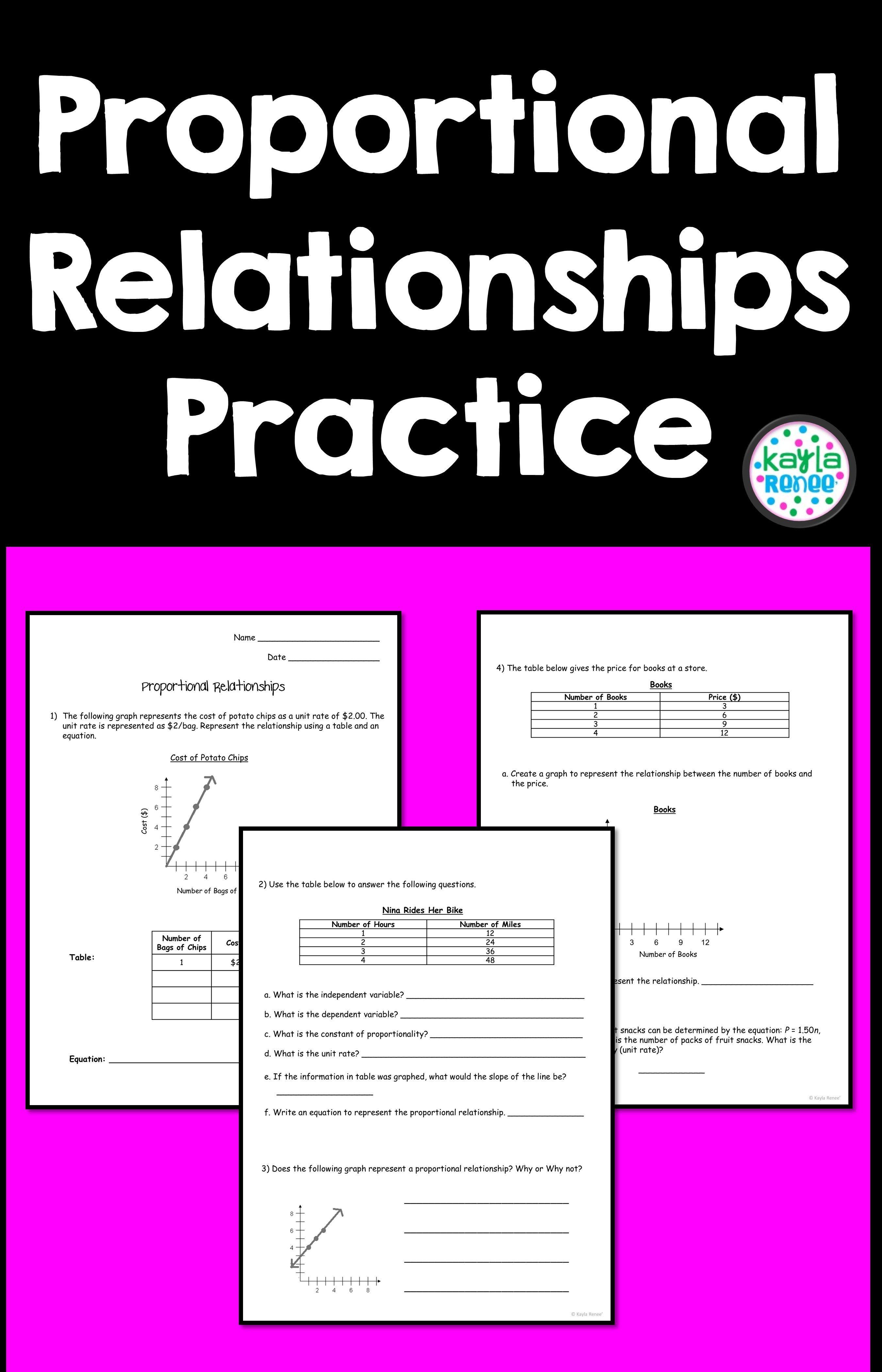 Proportional Relationships Worksheet - 7.RP.2 - Print and Digital    Relationship worksheets [ 4200 x 2700 Pixel ]