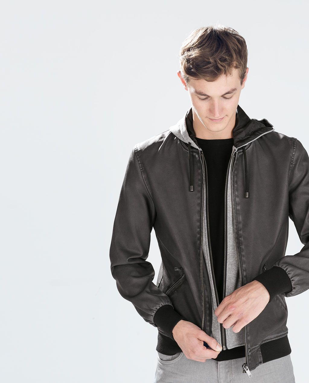 ZARA MAN FAUX LEATHER HOODED JACKET Faux leather