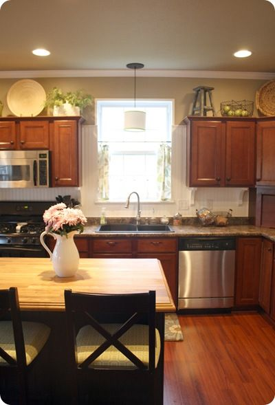 Above Kitchen Cabinets Decorating. I Also Like The Kitchen In General    Cabinet Stain Color, Counters, Stainless, Etc. Part 41