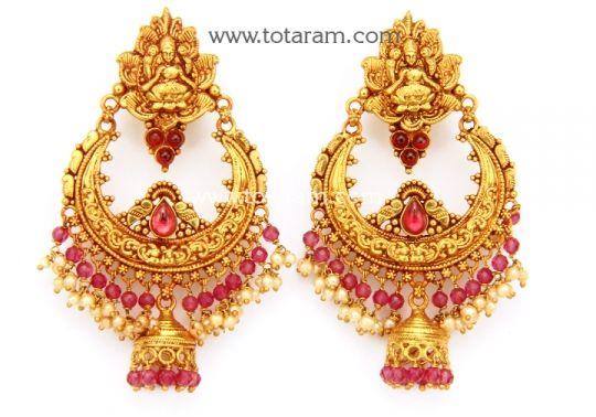 Chandbali Earrings Temple Jewellery 22K Gold Lakshmi Drop