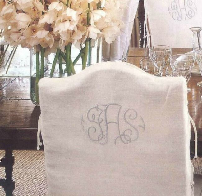 Lovely Monogrammed Chair Cover For Vanity Chair