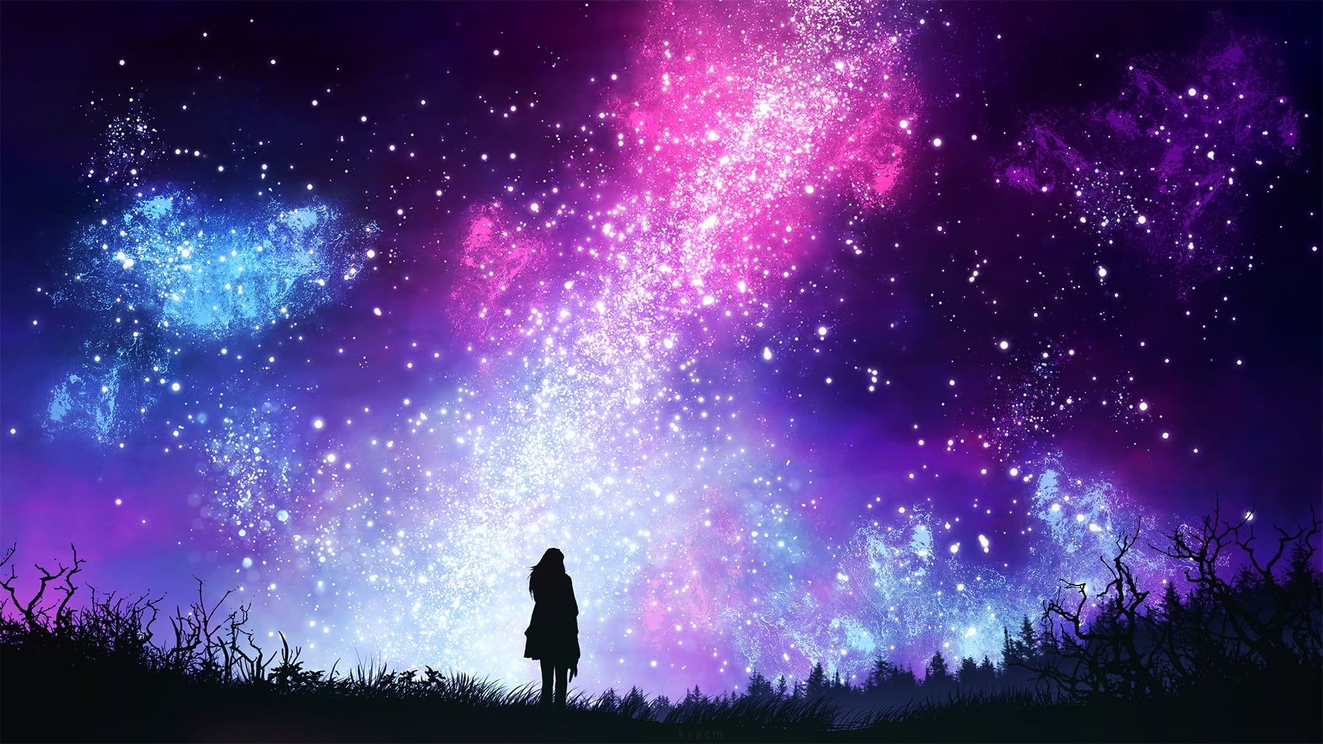 Pink Purple And Blue Galaxy Stars The Sky Girl Space Night By Kvacm 1080p Wallpaper Hdwallpaper Des Night Sky Wallpaper Galaxy Painting Silhouette Art