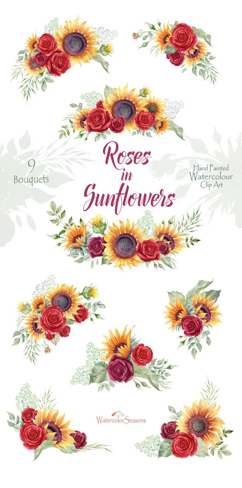 Roses In Sunflowers Watercolor Bouquets Autumn Clipart Red Etsy In 2020 Watercolor Sunflower Flower Crown Drawing Watercolor Bouquet