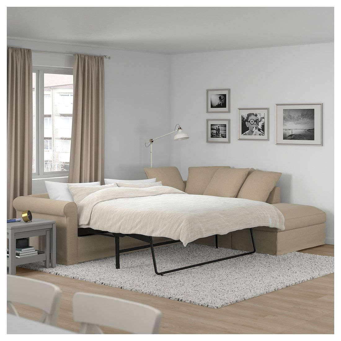 GRÖNLID 3 seat sofa bed with chaise longue, Inseros white