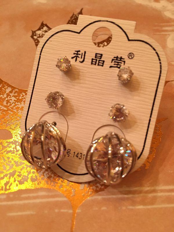 14k Gold Pl Cz Earrings Three Pair For Sale In Mesa  Az