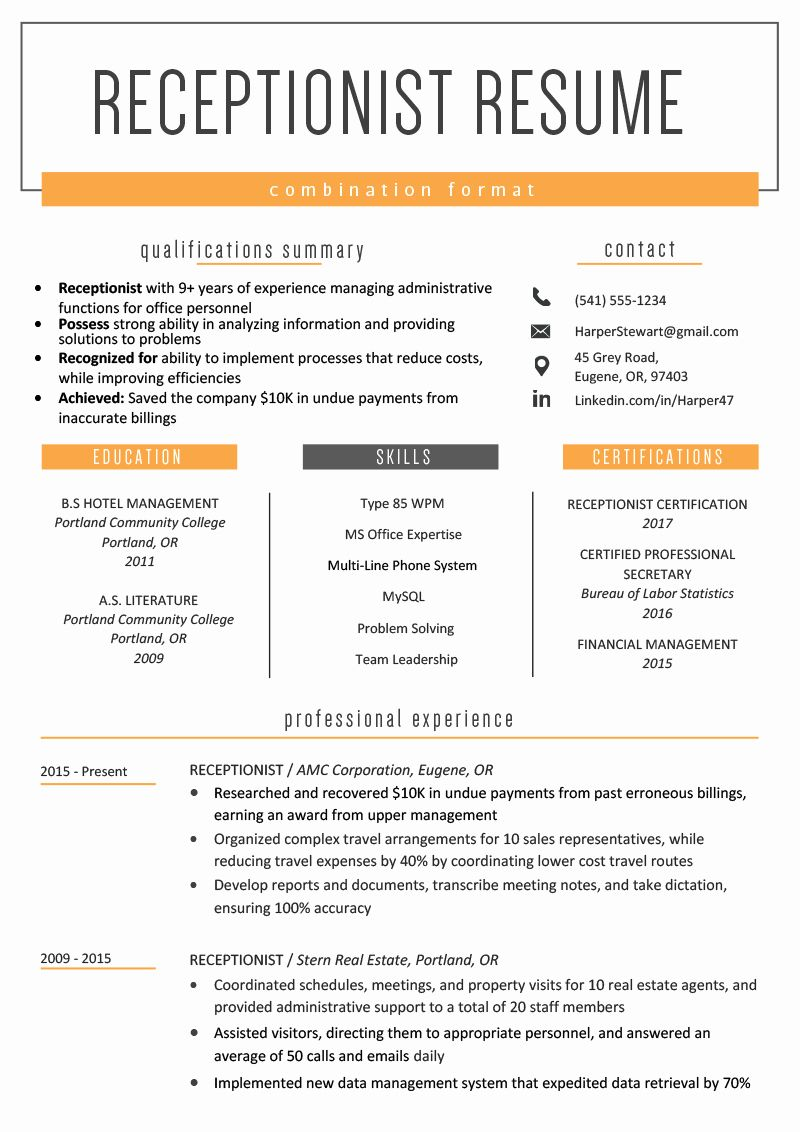 Free Combination Resume Template Fresh the Bination Resume