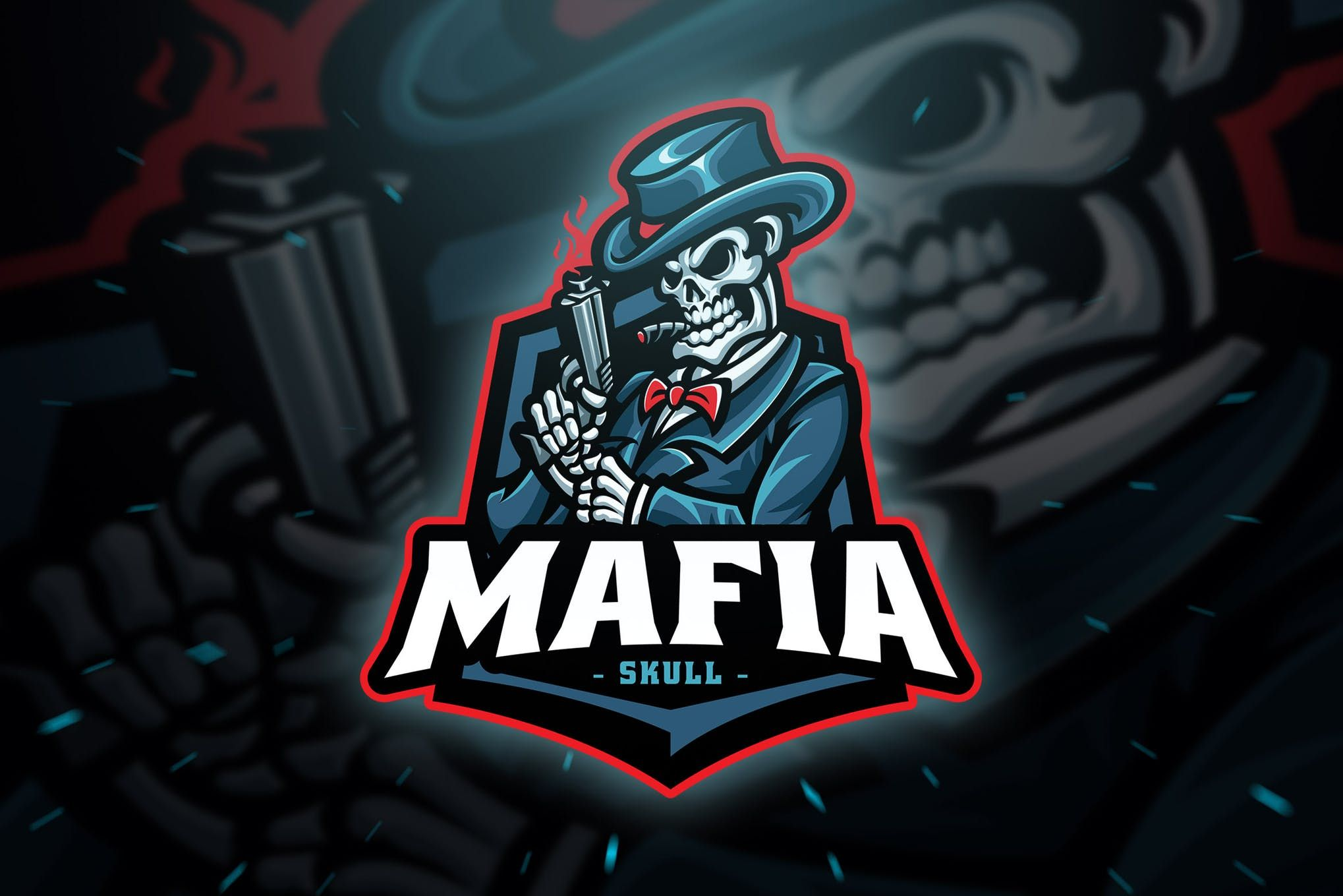Mafia Skull Sport and Esport Logo Template by Blankids on