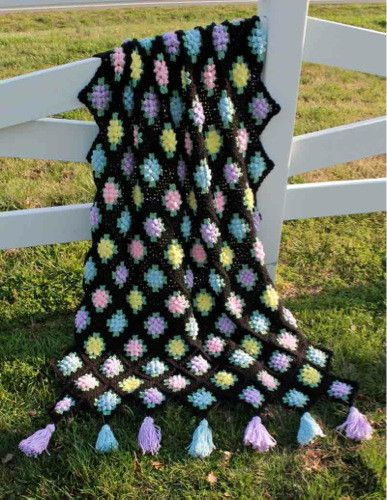 Vintage Granny Popcorn Afghan Crochet Pattern | Decken, Kissen und ...