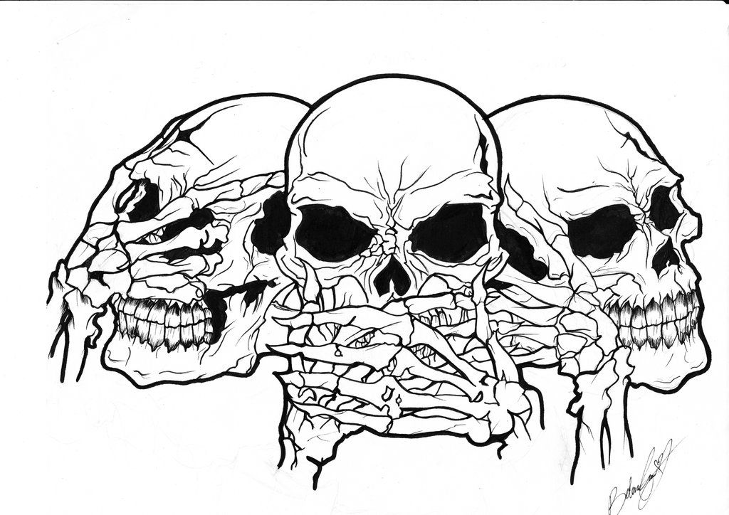 картинки черепов и скелетов карандашом все есть