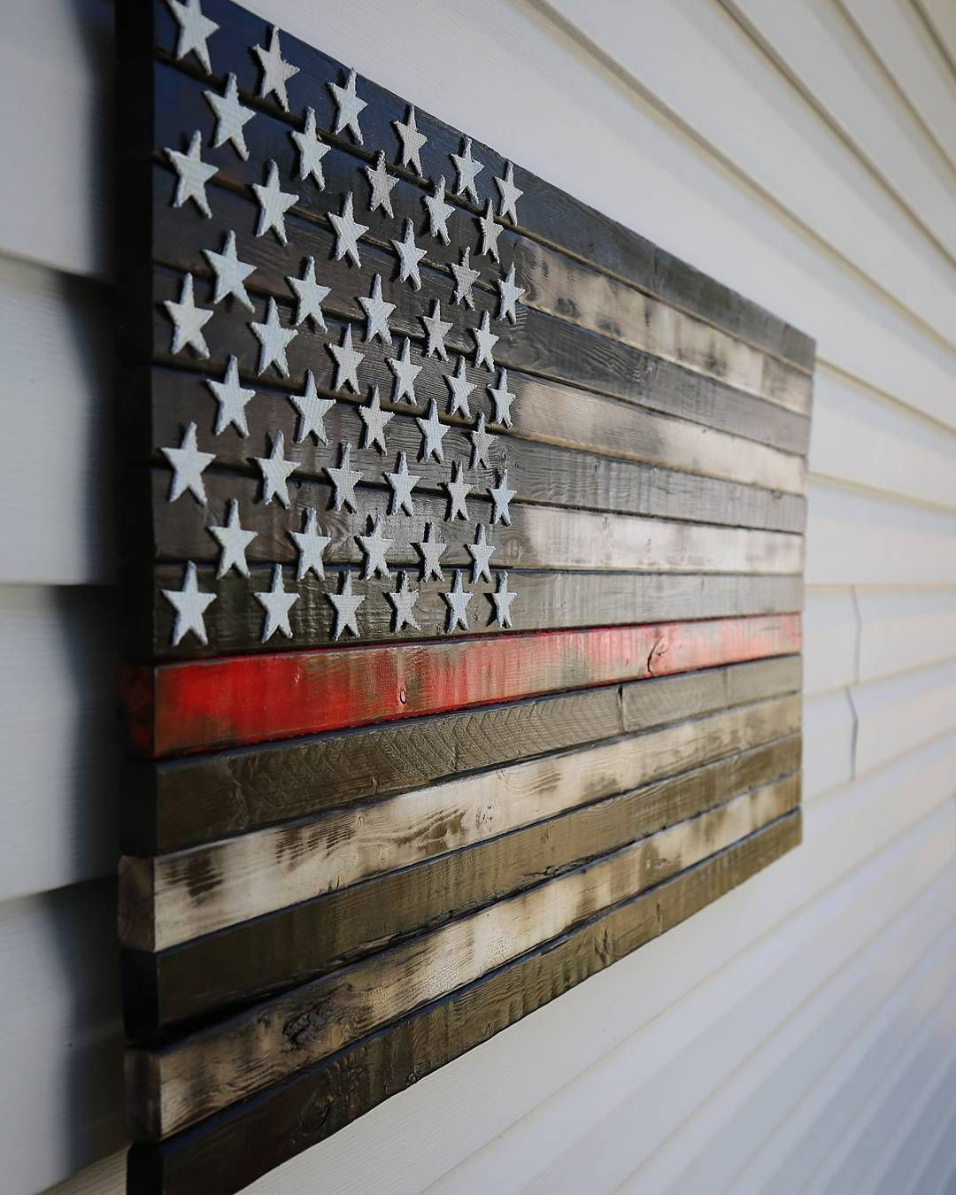 Rustic Burnt Thin Red Line American Flag With Fire Hose Stars