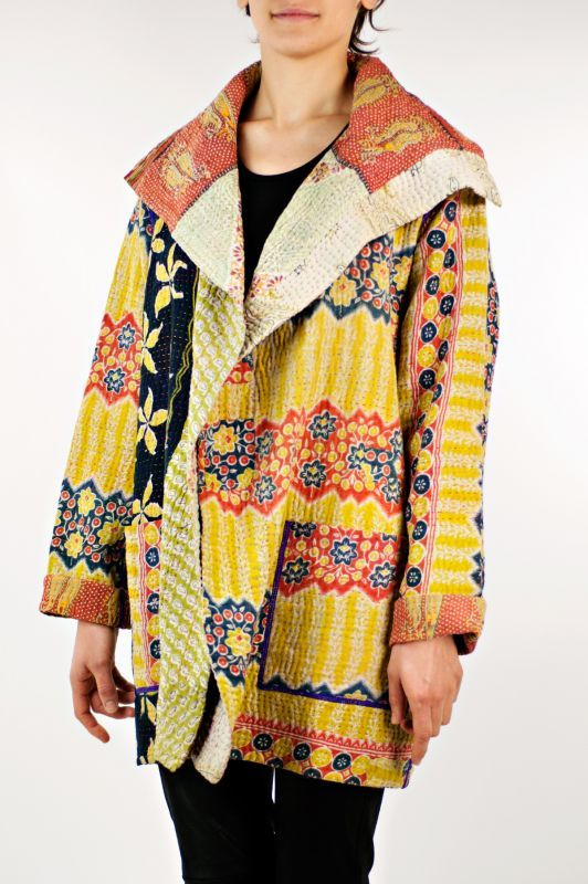 Mieko Mintz Kantha Pocket Jacket in Red and Yellow » $700