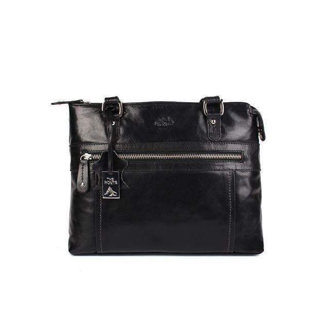 Annons på Tradera  Väska mellanstor med axelrem klassisk modell svart i  buffel skinn The Monte e8a504e38cc8d