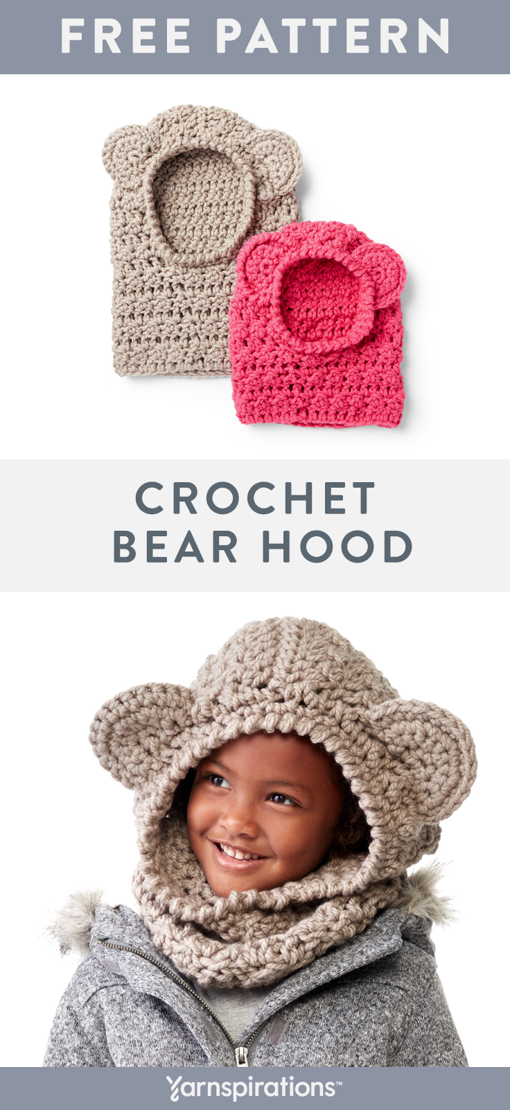 Free Crochet Bear Hood Pattern | Gift them a cute and cozy crochet bear hood made with warm and bulky Bernat Softee Chunky yarn. #yarnspirations #bernatsofteechunky #crochetbearhood #crochet #freecrochetpatterns #crochetbear