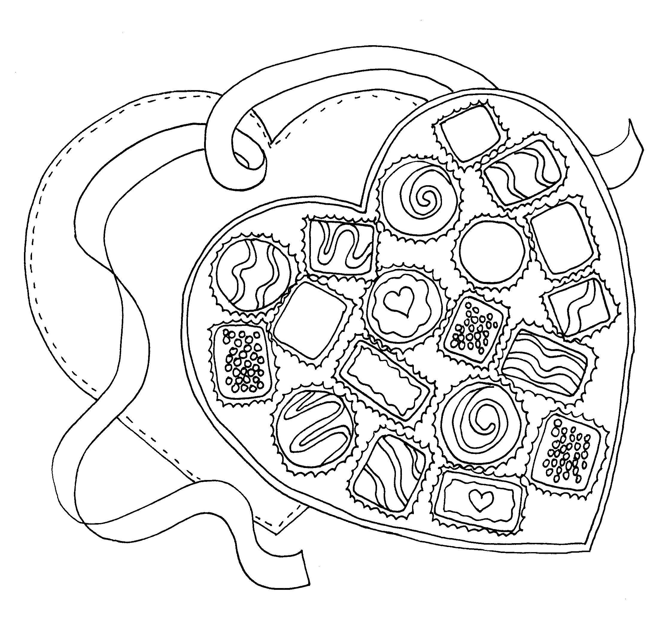 Valentine Chocolate Box Coloring Page