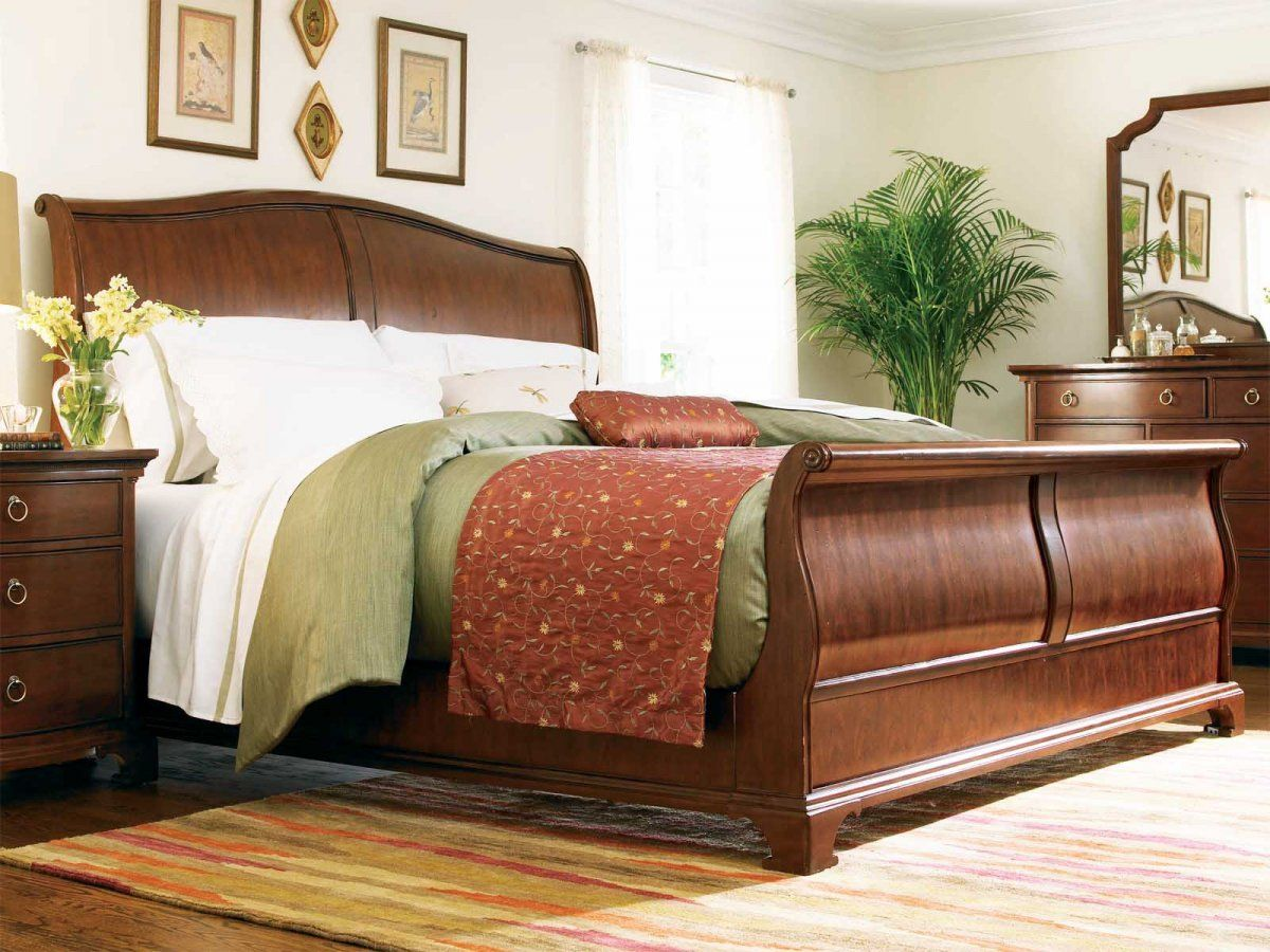 Wooden Varnished Better Homes And Gardens Sleigh Bed With Green Stripped Rectangle Flo Master Bedroom Furniture Bedroom Furniture Stores Inexpensive Home Decor