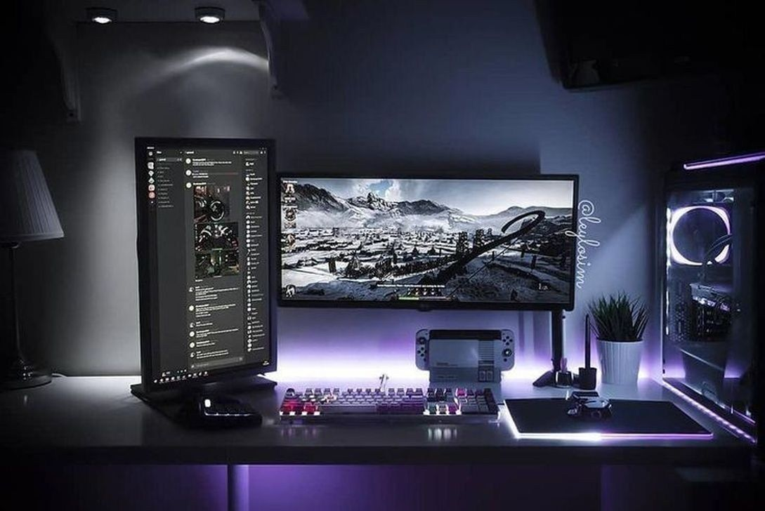 The Best Gaming Desk Decor Ideas With Computer Setup 07 Computer Setup Gaming Desk Diy Computer Desk