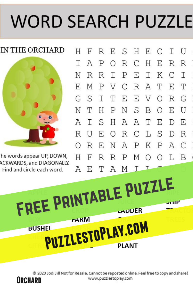Pick me an apple! This Orchard word search is the perfect