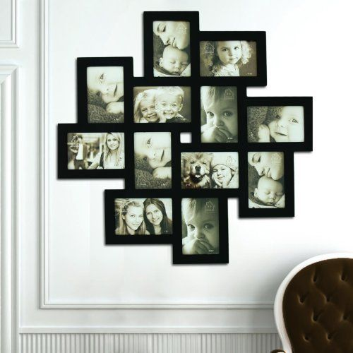 12 Opening Wooden Wall Black Collage Photo Picture Frame Wall Art Holds Six 4 By 6 Inch And Six Picture Frame Art Photo Frame Wall Wall Collage Picture Frames