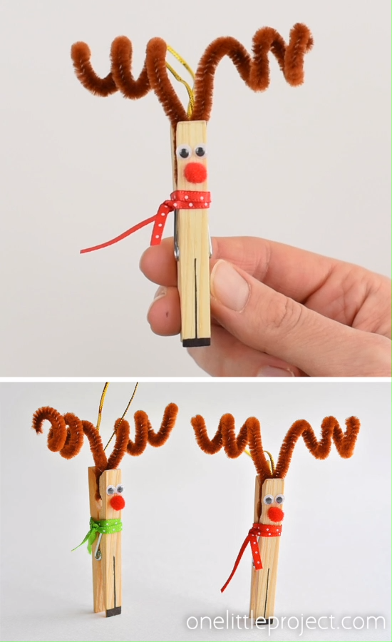 Clothespin Reindeer Christmas Ornaments