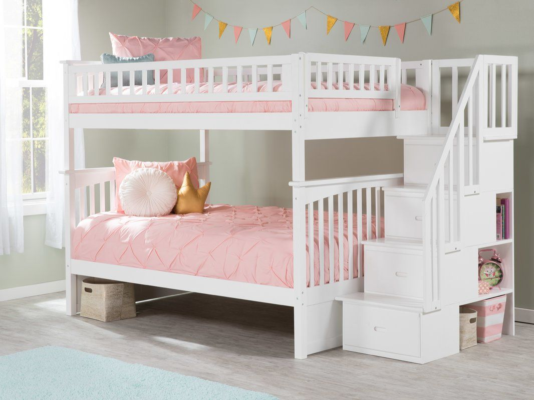 Abel Staircase Full Over Full Bunk Bed With Drawers Slaapkamer