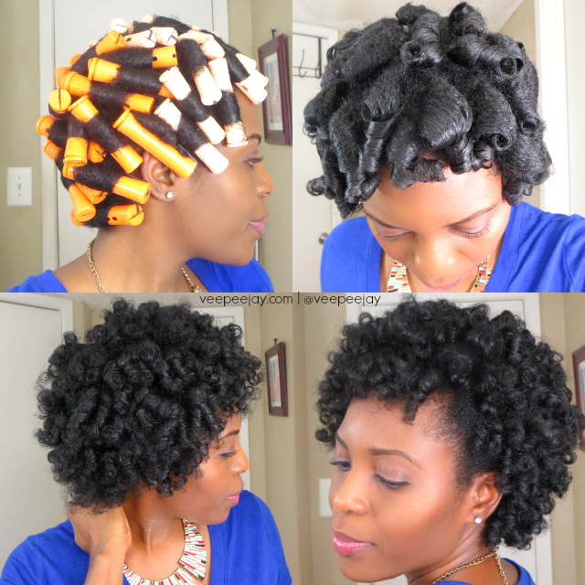 Perm rods on natural hair 4c