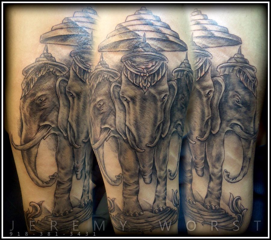 Three headed elephant tattoo tattoos pinterest for Laos tattoo designs
