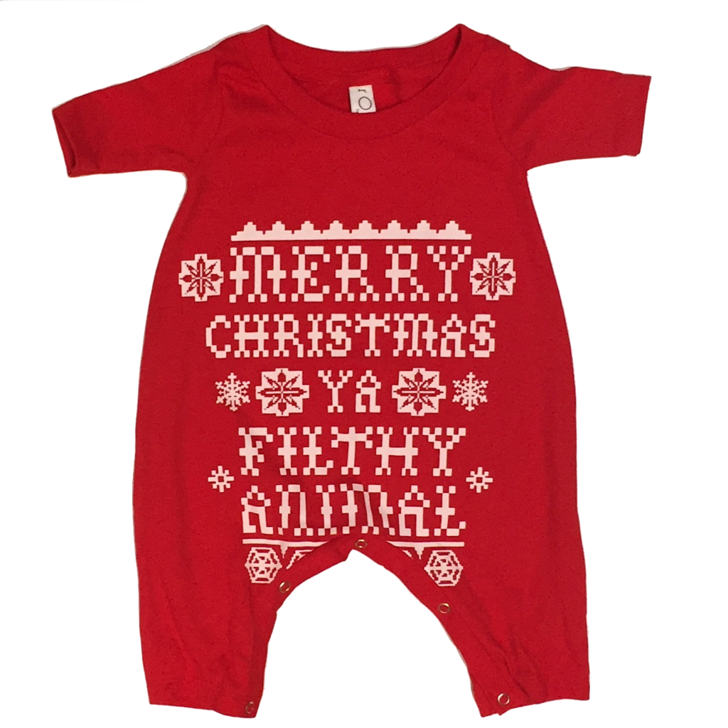 Merry Christmas Ya Filthy Animal Onesie // Home Alone Quote // Christmas  Romper