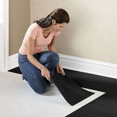 Houseables Square Carpet Tiles 12 X 12 144 Sq Ft Black Self Adhesive Polyester Home Bedroom Living Roo Carpet Tiles Carpet Tiles Basement Home Carpet