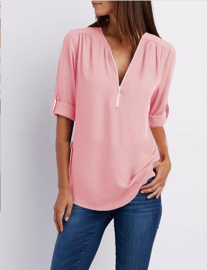 ee30002fb634b New Style V-Neck Long Sleeve Blouse Chiffon Blouse Fashion Ladies Women  Casual Tops Shirt Women Summer Loose Top blusa feminina