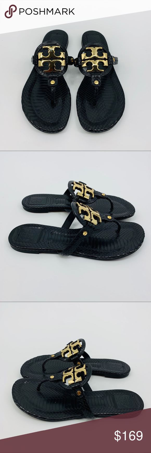 be14795b3e5d Tory Burch Vitraux Snake Print Miller 2 Sandals This is a pair of Tory  Burch Black
