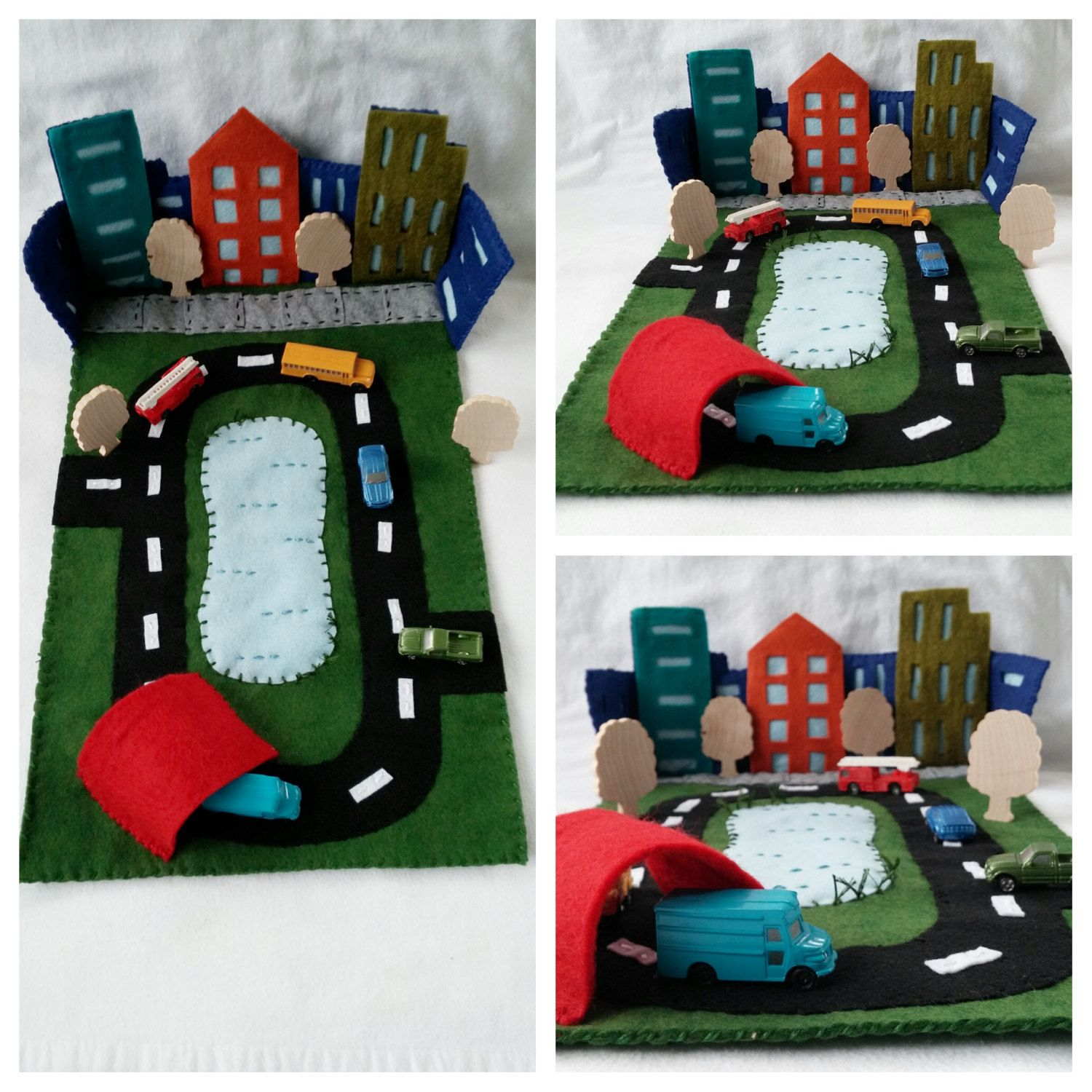 Wool Felt City Play Mat Playscape Cityscape Toy Car Truck