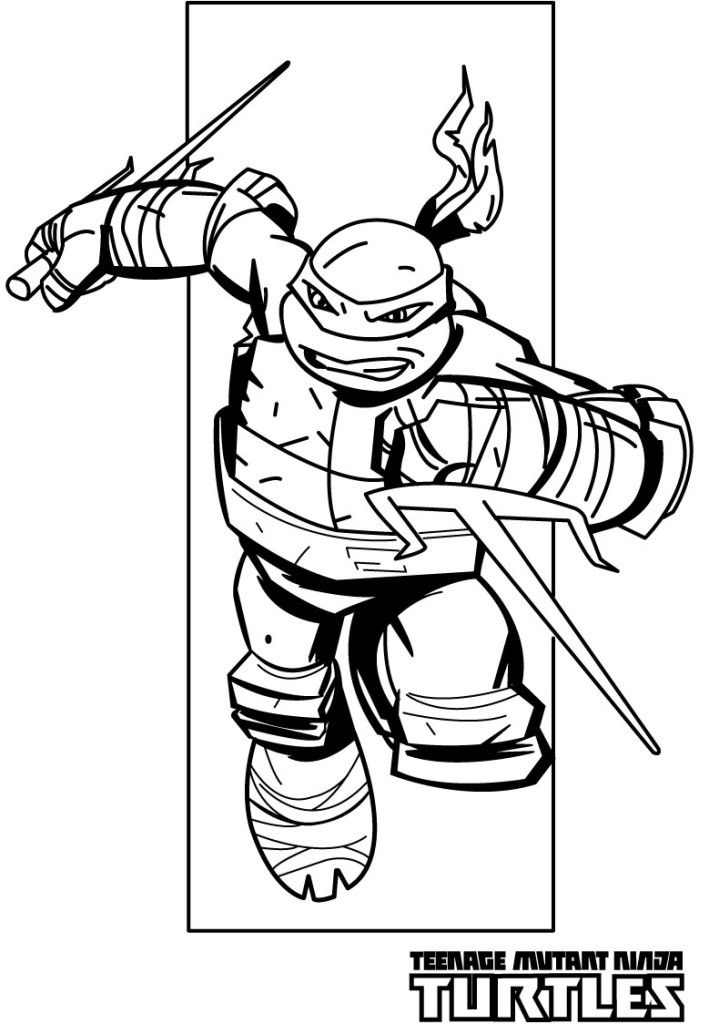 Dorable El Adolescente Mutante Ninja Tortuga Raphael Para Colorear ...
