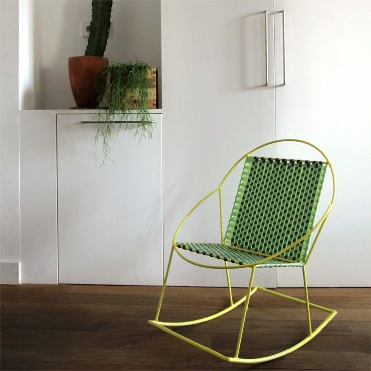 Old Techniques New Materials Rocking Chairs From Macedorama Remodelista Modern Rocking Chair Chair Green Rocking Chair