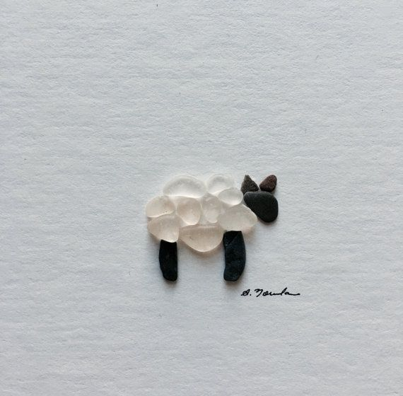 Wooly sea glass and pebble art sheep unframed by PebbleArt on Etsy