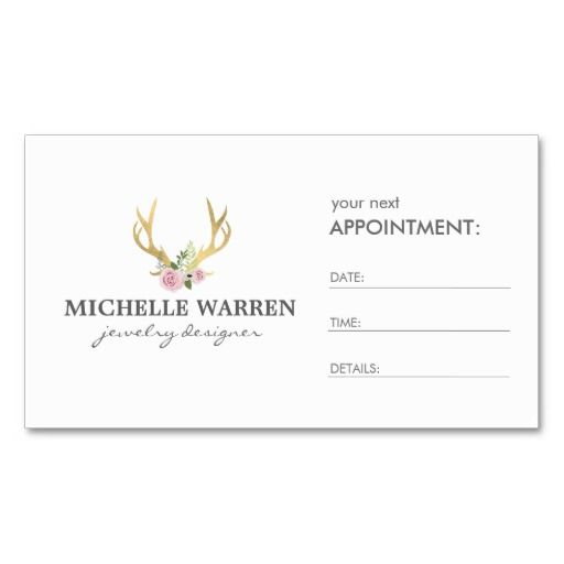 Bohemian gold antlers appointment card business card template bohemian gold antlers appointment card business card template flashek Images