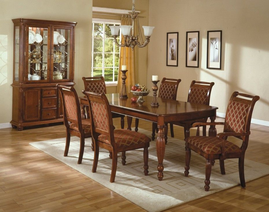 Classic Dining Room Furniture Showing Brown Lacquer Rectangle Solid Oak Wood Table With Varnishes