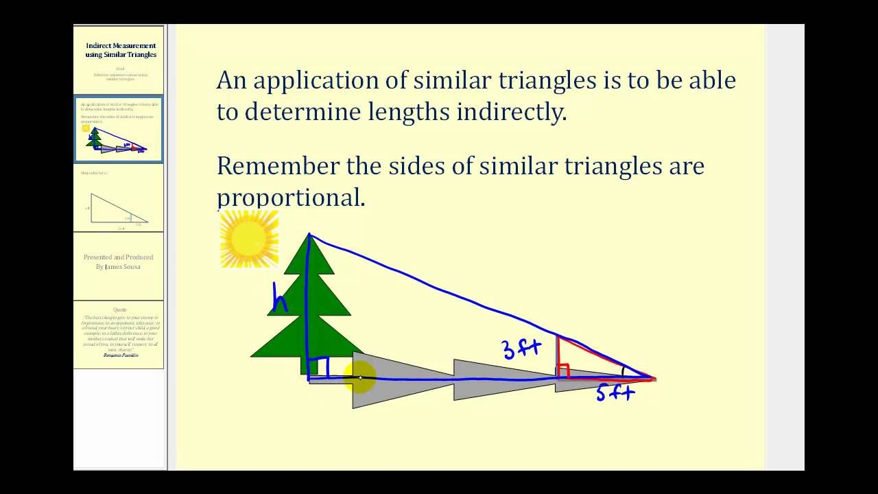 Indirect Measurement Using Similar Triangles   triángulos   Pinterest