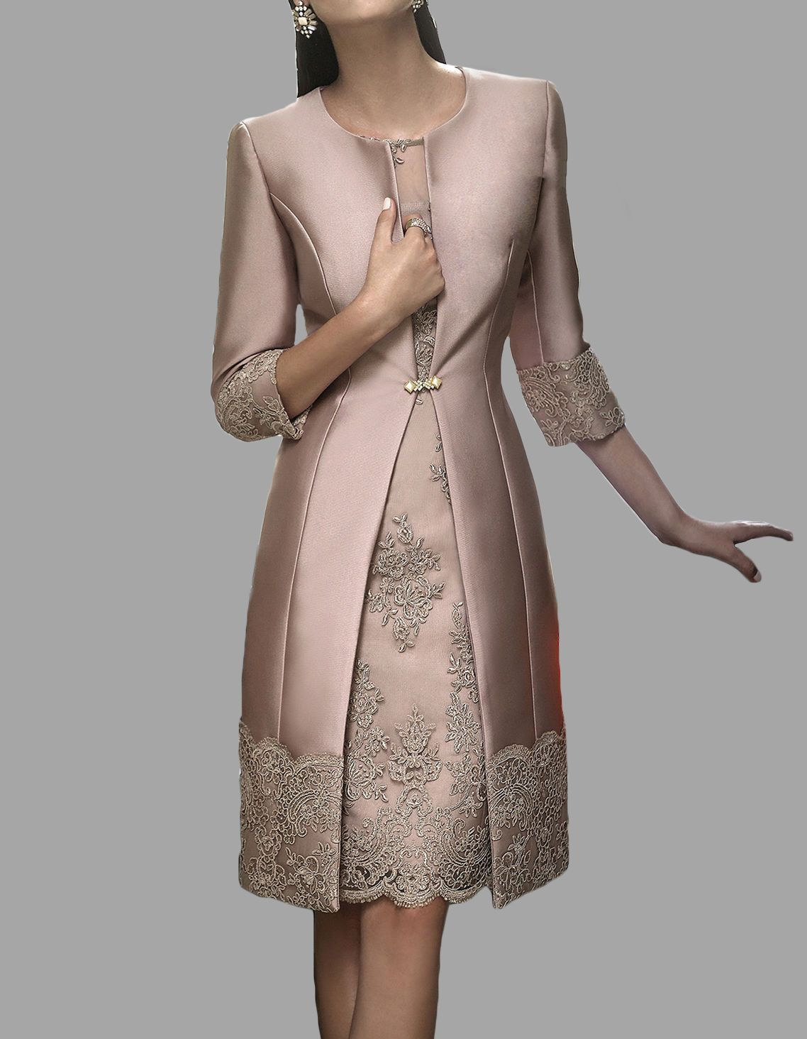 30243745bed New Knee Length Mother Of The Bride Dress With Coat Satin Appliques 3 4  sleeves