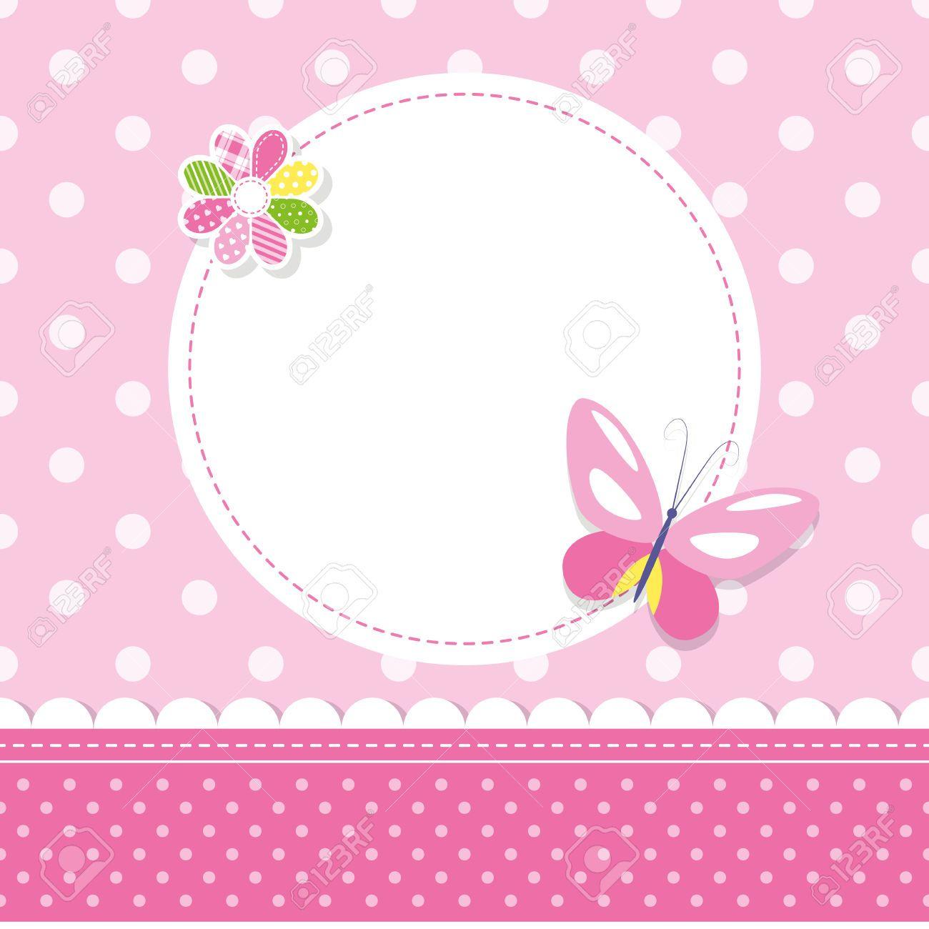 Bien-aimé Papillon Rose Petite Fille Carte De Voeux Clip Art Libres De  TO23