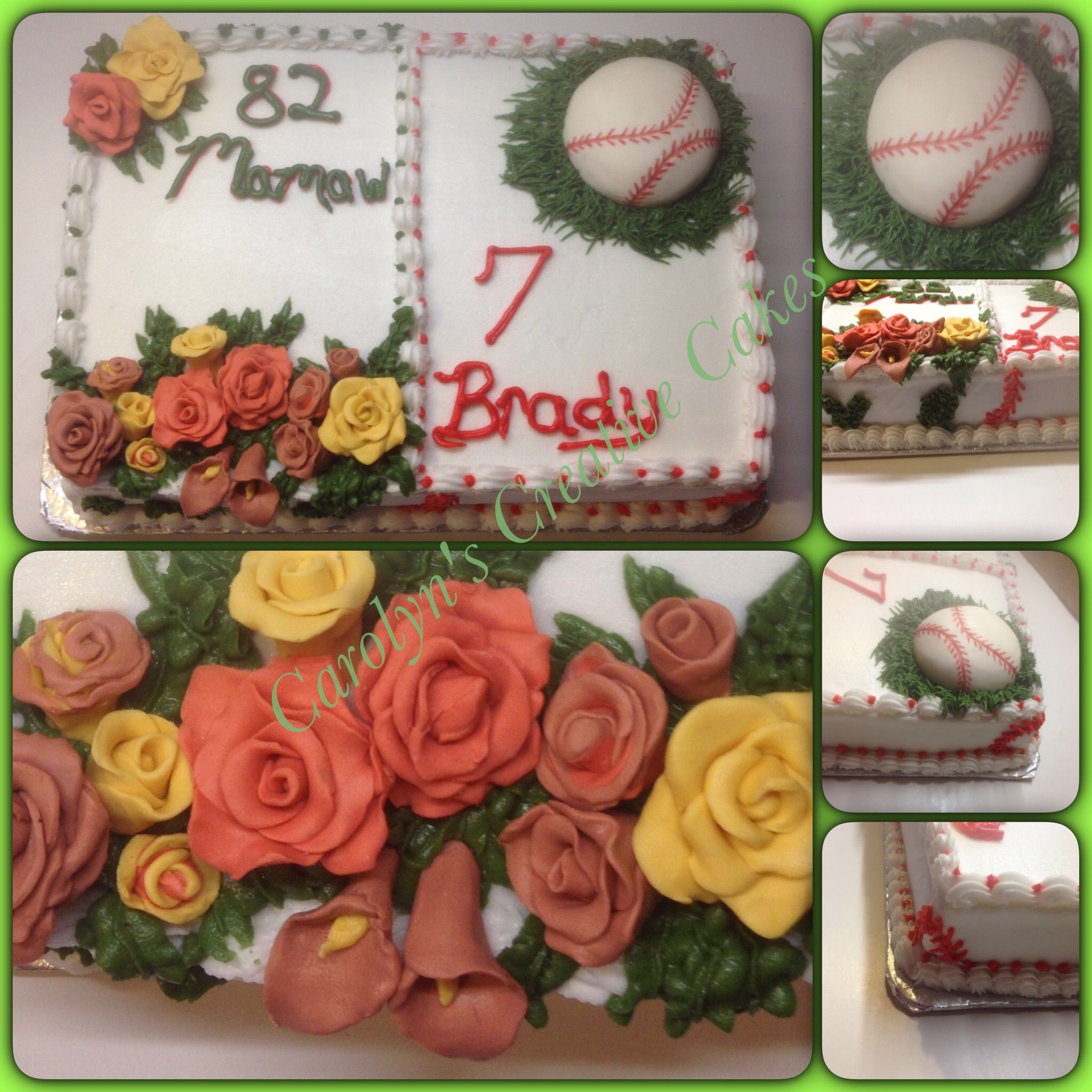 Flower and baseball cake, all decorations made out of modeling chocolate