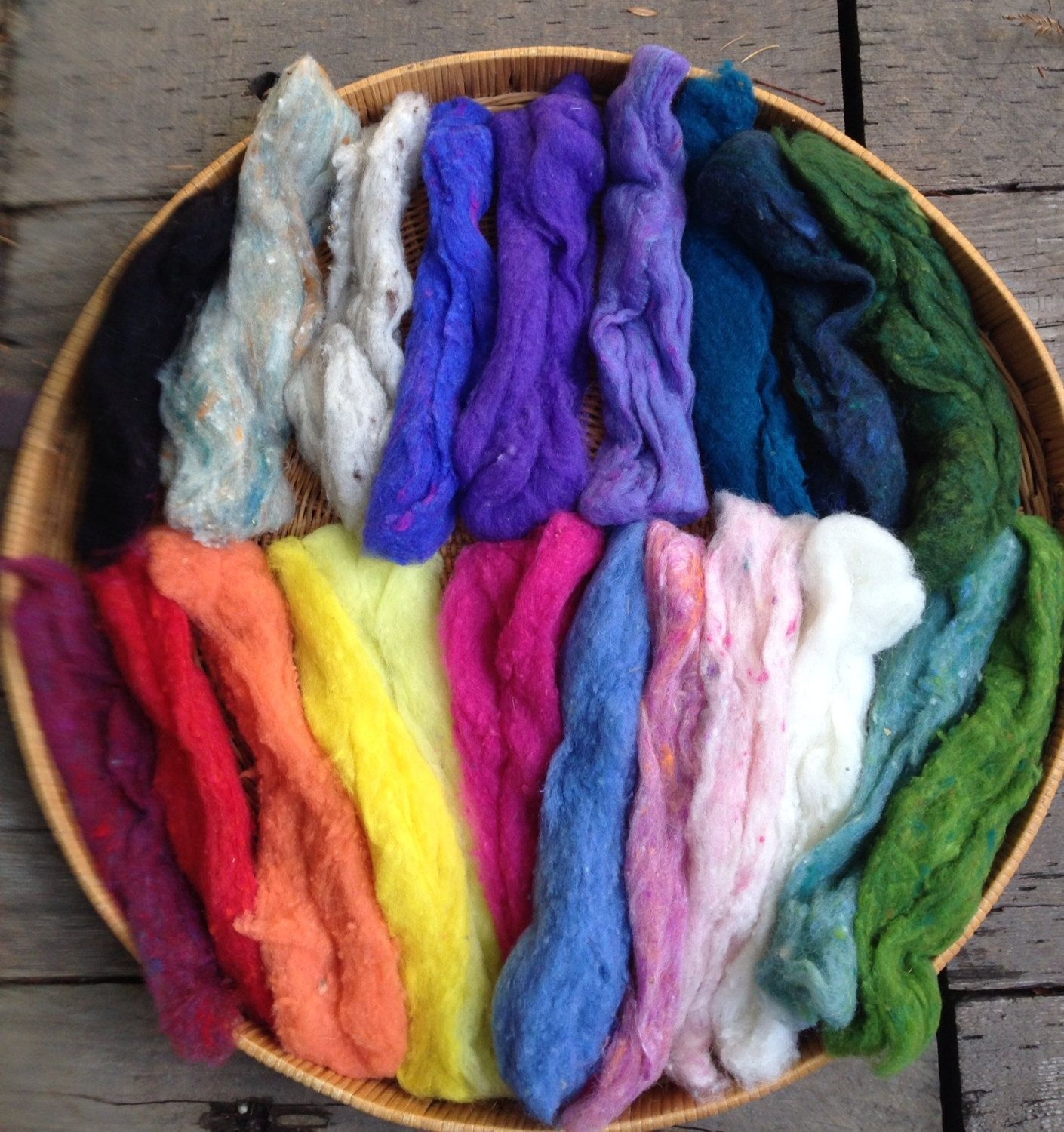 For sale rainbow wool fleece set for weft insertion in