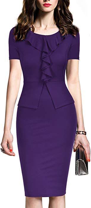 2c51643902 Amazon.com: REPHYLLIS Women's Vintage One Piece Office Wear to Work Pencil  Dress XXL Purple: Clothing