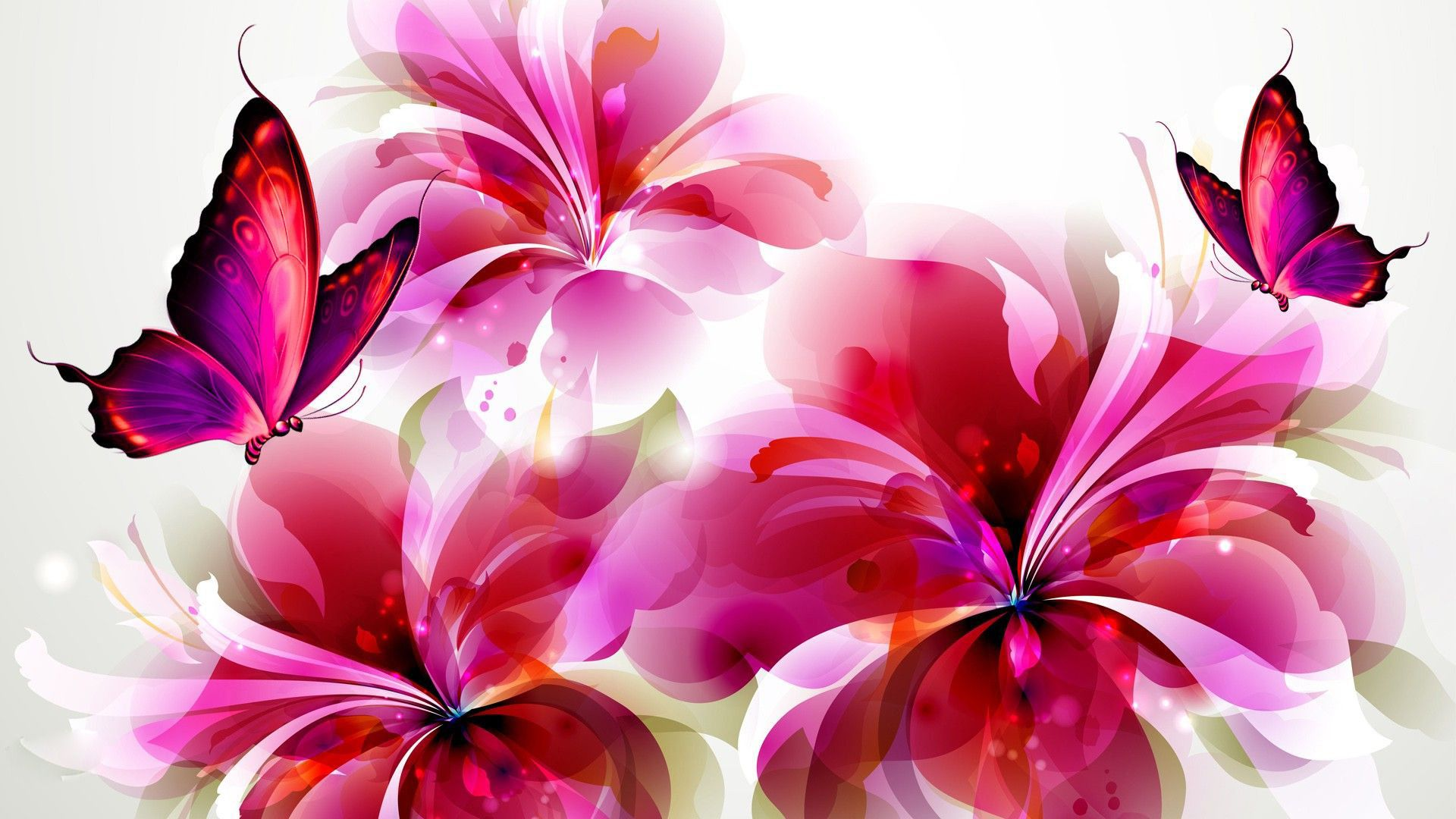 Butterflies Flowers And Butterflies Digital Art Hd Wallpaper