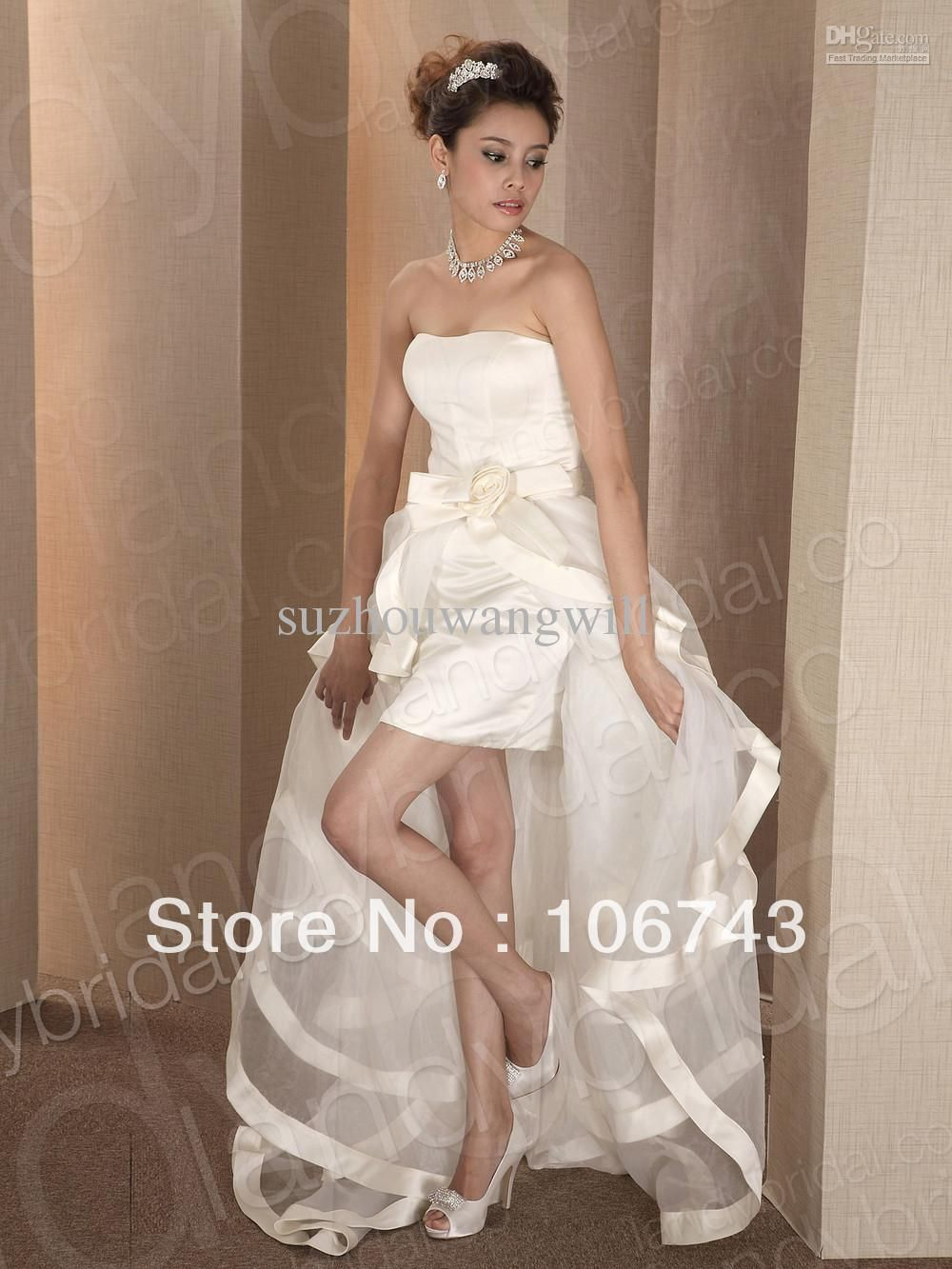 Wholesale High-low Wedding Dress Removable Skirt Short Bridal Gown ...