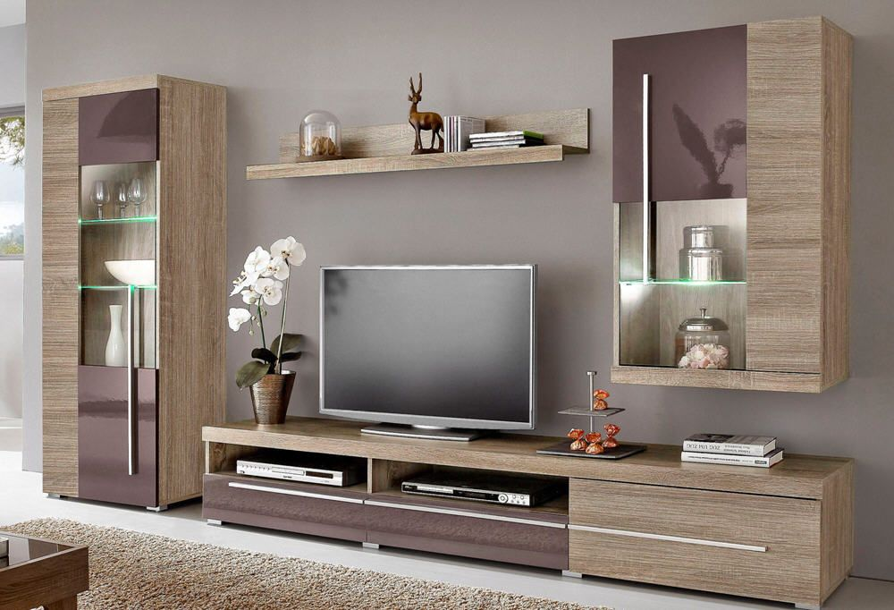 ensemble mural hi fi video 4 l ments bicolores prix promo meuble tv 3 suisses. Black Bedroom Furniture Sets. Home Design Ideas