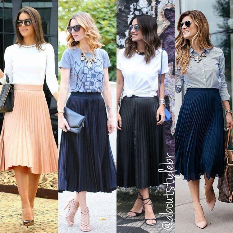 a6168adeb Looks de hoje com saia midi plissada! Pode usar no trabalho, no lazer com  tênis ou salto + T-shirt e maxi colar! Cuidado, essa saia aumenta…