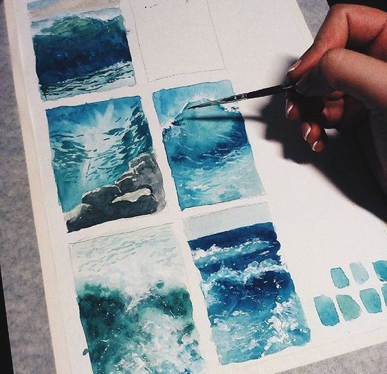 waves painting discovered by 🐼❤ on We Heart It