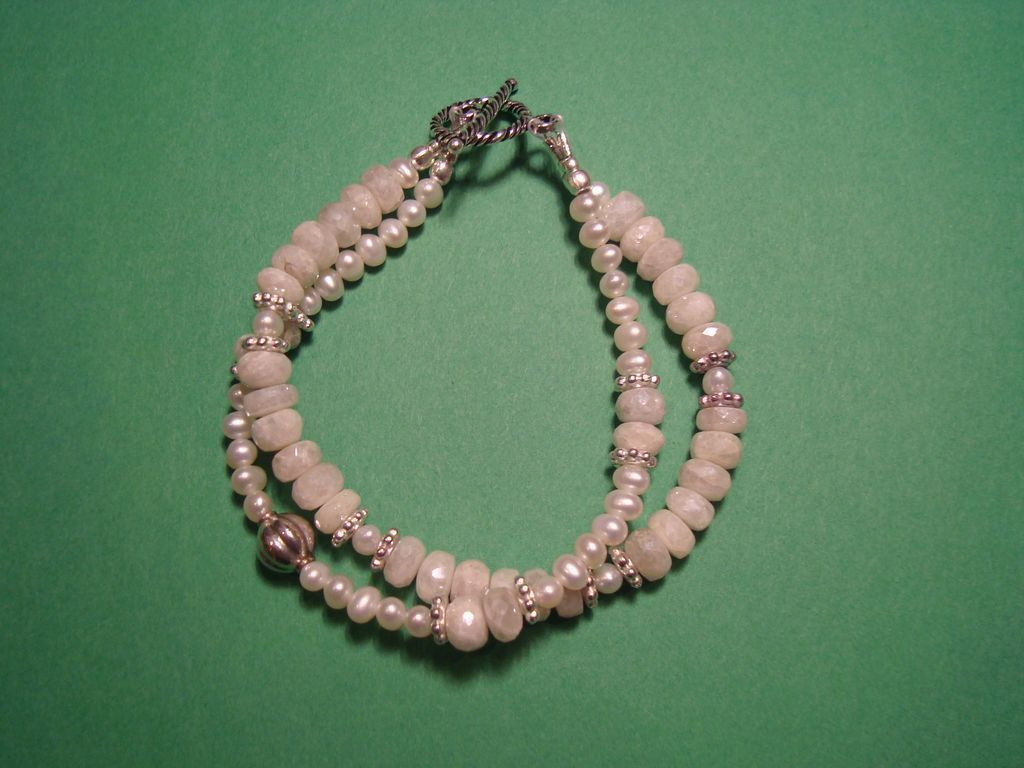 White Sapphire and Cultured, Freshwater Pearl Double Strand Bracelet